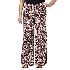 Red Herring - Red ditsy floral palazzo trousers