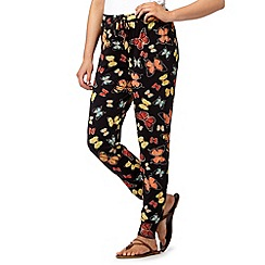 Red Herring - Black jersey butterfly print trousers