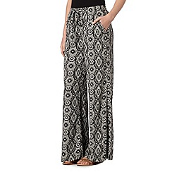 Red Herring - Black floral tile print palazzo trousers