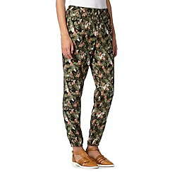 Red Herring - Khaki palm print cuffed trousers