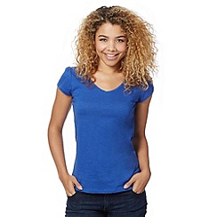 Red Herring - Bright blue plain V neck t-shirt