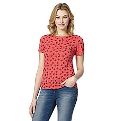 Red Herring - Light peach butterfly print top