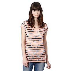 Red Herring - Light peach striped and bird print t-shirt