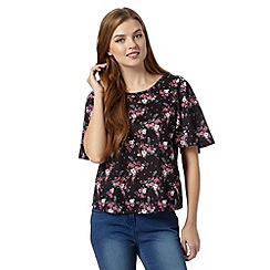 Red Herring - Black floral kimono sleeve top