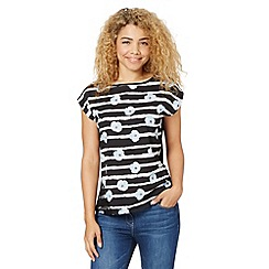 Red Herring - Black floral striped top