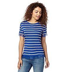 Red Herring - Blue striped lace trim top