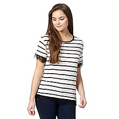 Red Herring - Ivory striped lace trim top