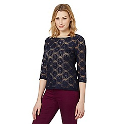 Red Herring - Navy brushed lace top