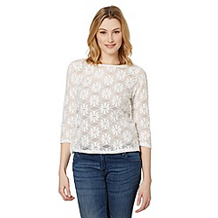 Red Herring - Ivory brushed lace top