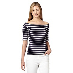 Red Herring - Navy striped bardot top
