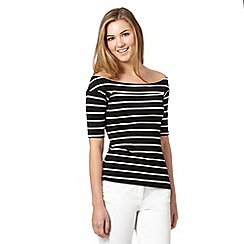 Red Herring - Black striped bardot top