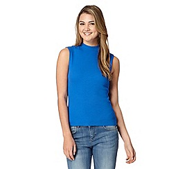 Red Herring - Bright blue ribbed turtle neck top