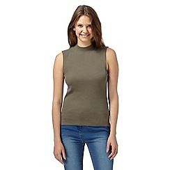 Red Herring - Khaki sleeveless turtle neck top