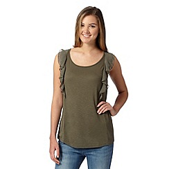 Red Herring - Khaki ruffle top