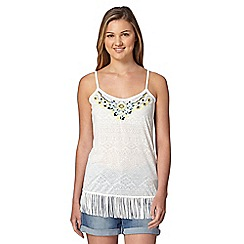 Red Herring - Ivory fringed aztec camisole