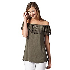 Red Herring - Khaki crochet gypsy top