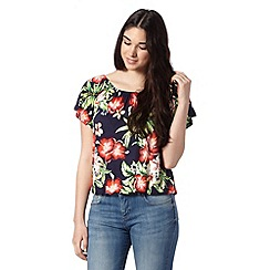 Red Herring - Navy floral print top