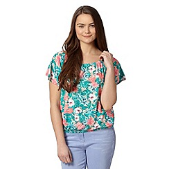 Red Herring - Peach tropical floral print top
