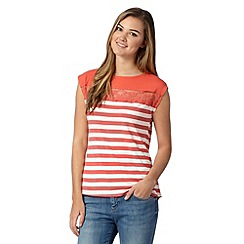 Red Herring - Peach striped lace insert t-shirt