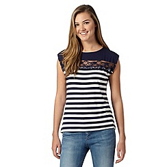 Red Herring - Navy striped lace insert t-shirt
