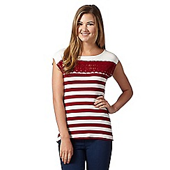 Red Herring - Wine striped crochet insert top