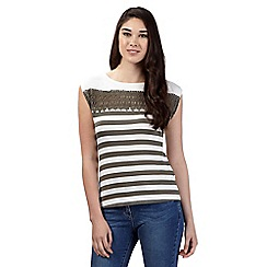 Red Herring - Khaki crochet striped top