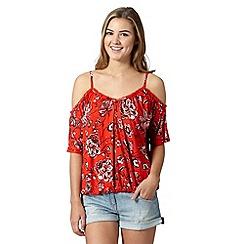 Red Herring - Red floral cold shoulder top