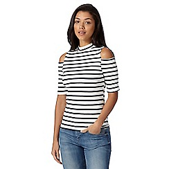 Red Herring - Ivory striped roll neck cold shoulder top