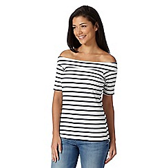 Red Herring - Ivory striped bardot top