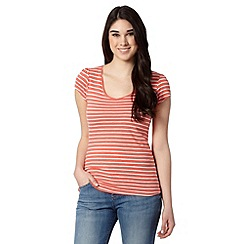 Red Herring - Light peach striped slub t-shirt