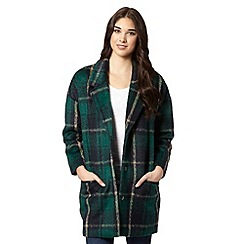 Red Herring - Dark green checked wool blend coat