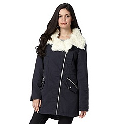 Red Herring - Navy faux fur trim parka jacket