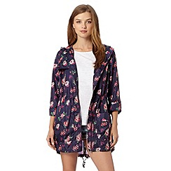 Red Herring - Navy floral rain mac