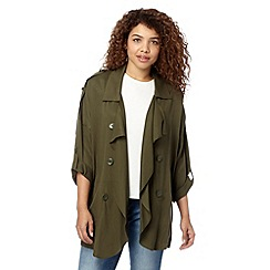 Red Herring - Khaki drape trench jacket