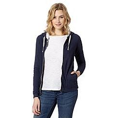 Red Herring - Navy plain zip through hoodie