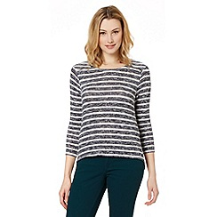 Red Herring - Navy striped zip shoulder jumper