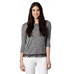Red Herring - Grey speckled lace hem jumper