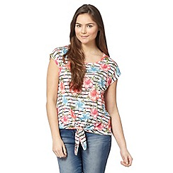 Red Herring - Ivory striped floral tie front top