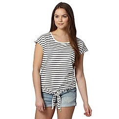 Red Herring - Ivory striped tie front top