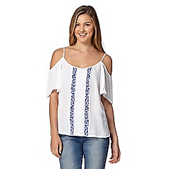 Red Herring - White embroidered cold shoulder gypsy top