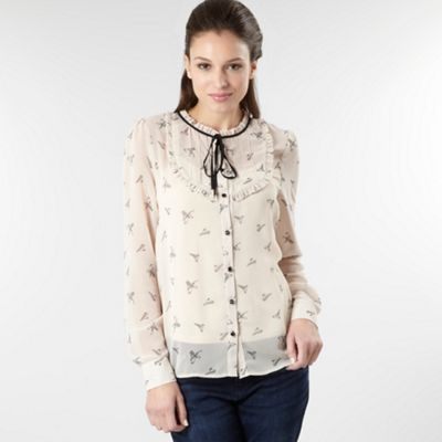 Natural bird print long sleeve blouse