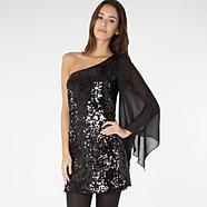 Einschultriges Paillettenkleid in Schwarz