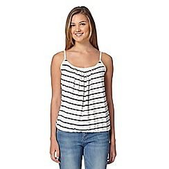 Red Herring - Ivory striped bubble hem camisole