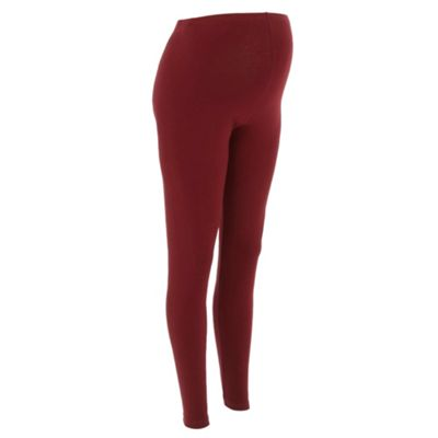 Dark Red Full Length Maternity Leggings