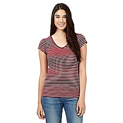 Red Herring - Dark red striped V neck top