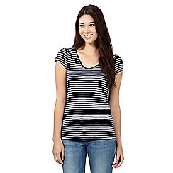Red Herring - Navy striped V neck top