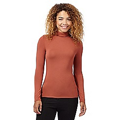 Red Herring - Dark tan roll neck top