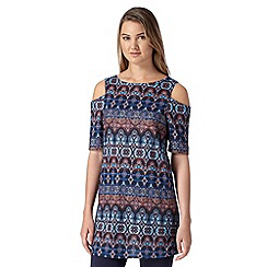 Red Herring - Navy floral tile print tunic dress