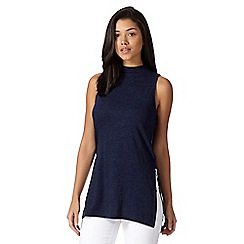 Red Herring - Navy turtle neck side split long tunic