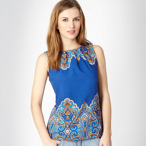 Red Herring - Blue paisley border printed shell top